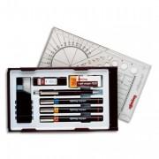 Coffret 3 stylos techniques ISOGRAPH+encre+gomme+porte-mine+1 étui mine avec système PEN STATION - Rotring