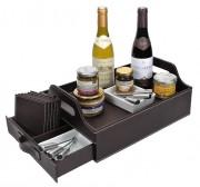 Coffret cadeau à 2 demi bouteilles vin - Plateau façon cuir