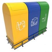 Collecteur déchets à trappes basculantes - Tri sélectif - En métal ou acier inoxydable