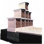 Columbarium pyramide 12 cases - Dimensions de l'ensemble (L x l x h) : 3.10 x 0.75 x 1.67 m