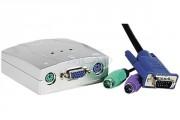 Commutateur électronique - KVM 2 ports VGA/PS2 avec câbles intégrés