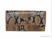 Compagnon cuir motif python - Capacité : 15 cartes - Poche à 2 compartiments