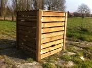 Composteur bois pour déchets organiques - Dimension (mm) : 900 x 900 x 1000