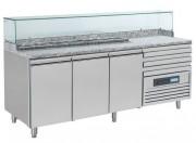 Comptoir à pizza réfrigéré - Dimensions extérieures (L x P x H) mm : 2070 x 700 x 850