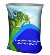 Comptoir pliable rectangle tissu - Structure + tissu imprimé + plateaux+ sac de transport