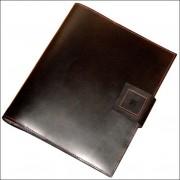 Conférencier en cuir personnalisable - Portrait bloc fermé 32 x 27 x 4 cm - Couleur :Cognac et Noir