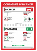 Consigne urgence incendie - Dimensions : 250 x 350 mm