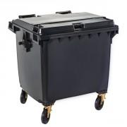 Conteneur 4 roues 1100 L - Capacité : 1100 litres - Dimensions (LxPxH) : 1370 x 1118 x 1295 mm - Matière : Polyéthylène haute densité