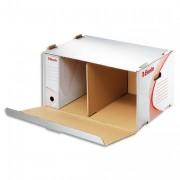 Conteneur à archives ouverture frontale, en carton ondulé kraft blanc - Esselte