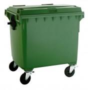 Conteneur à déchets 4 roues en plastique - Capacité : 1.100 litres - Largeur : 1.370 mm