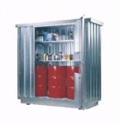 Conteneur de stockage à bac de rétention intégré - Charge admissible du caillebotis : 1 000 kg/m2