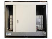 Conteneur de stockage 3 m pour 2 IBC 1000 litres - Conteneur pour extérieur - 3 mètres linéaires avec 2 portes coulissantes - Capacité de rétention : 1100 L - Grande hauteur : 1950 mm (dim. int.)