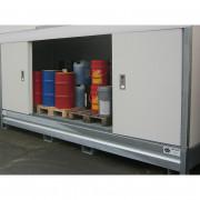 Conteneur de stockage DEEE - 12 fûts avec portes coulissantes - Conteneur DEEE pour stockage de 12 fûts de 220 L ou 3 IBC en extérieur. Long. 4 m - Rétention 1500 L - Réf. CONT4MPC