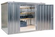 Conteneur de stockage en acier galvanisé - Usage extérieur - acier galvanisé - sol en bois