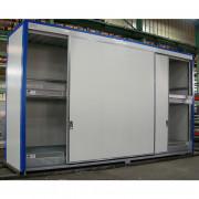 Conteneur de stockage multi-niveaux - 6 m Long - 4 bacs de rétention de 1000 L - Conteneur de stockage multi-niveaux en 6 m de long - Capacité : 32 fûts ou 8 IBC 1000 L - Portes coulissantes de 2 vantaux de 3 m de long - Contient 4 bacs de rétention (1000L/bac)