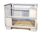 Conteneur en fil à fond bois - Dimensions utiles (axbxc) : 1200x800x800 mm - Dimensions hors tout (axbxc) : 1240x840x970 mm