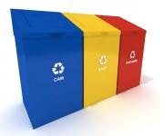 Conteneur recyclage - Roulant - Volume de : 3 x 200 litres