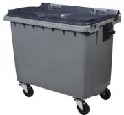 Conteneur roulant déchets 660 L - 4 roues - Plastique polyéthylène