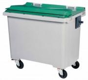 Conteneur roulant déchets 770 L - 4 roues - Dimensions L x P x H mm : 1370 x 765 x 1300