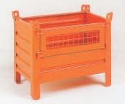 Conteneur tôlé petit volume à demi-porte grillagée rabattable - Charge admissible : 600 kg