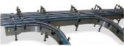 Convoyeur courbe à tapis modulaire - Implantation possible jusqu'à 180°