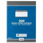 Copies doubles non perforées blanches 21x29,7cm 200pages SEYES 70g – Sous étuis CONQUERANT SEPT - CONQUERANT 7