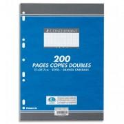 Copies doubles perforées blanches 21x29,7 cm 200 pages SEYES 70g – Sous étuis CONQUERANT SEPT - CONQUERANT 7