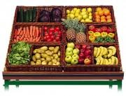 Corbeille à légumes en osier - Dimensions (L x P x H) cm : 60 x 40 x 11 - 60 x 40 x 20