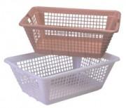 Corbeille à linge - Coloris : Blanc - Marron / Dimensions : de 550 x 390 x 270 à 790 x 575 x 290 mm
