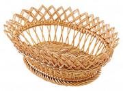 Corbeille à pain ovale à crans en osier - Longueur : 25 ou 30 cm - Diamètre : 20 ou 30 cm