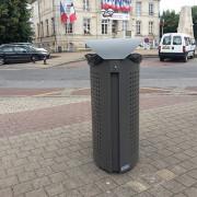 Corbeille acier pour extérieur - Avec seau 65 litres ou pince sac