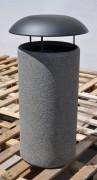 Corbeille béton avec couvercle métallique - Dimension (Ø x H) : 55 x 110 cm