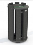 Corbeille d'extérieur plastique recyclé - Contenance : 100L - Avec ou sans couvercle - A sceller
