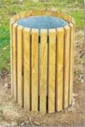 Corbeille de propreté bois 50L - Hauteur : 66 cm - Diamètre : Ø 43 cm