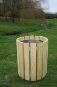 Corbeille de propreté ronde en bois - En robinier - Capacité (L) : 50