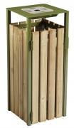 Corbeille de ville bois 110L avec cendrier - Contenance 900 mégots - Acier traité anti-UV
