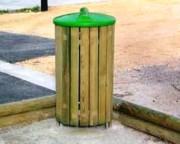 Corbeille de ville bois - Corbeille ronde sciage
