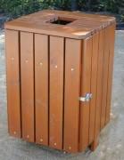 Corbeille de ville bois carrée - Capacité : 50 ou 100 Litres