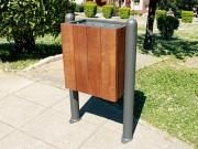 Corbeille de ville bois et acier - Capacité : 27,6 L - Dimensions : 61 x 29 x 94 cm
