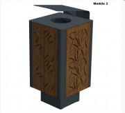 Corbeille de ville en bois 60 L - Dimensions (L x P x h) : 400 x 400 x 790 mm