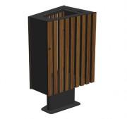 Corbeille de ville en bois 70 L - Dimensions (L x P x h) : 350 x 540 x 820 mm