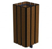 Corbeille de ville en bois 90 L - Dimensions (L x P x h) : 360 x 360 x 910 mm