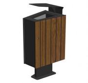 Corbeille de ville ergonomique en bois - Dimensions (L x P x h) : 350 x 450 x 820 mm