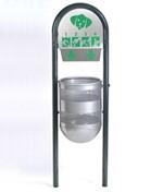 Corbeille de ville métal avec arceaux - Distributeur de sac pour dechets canins. Dimensions : (L x l x H) 52 x 40 x 170