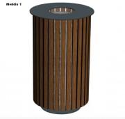 Corbeille de ville ronde compact - Structure en métal