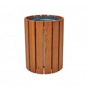 Corbeille de ville ronde en bois - Capacité : 60 litres