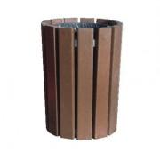Corbeille de ville ronde en plastique recyclé - Hauteur (cm) : 80