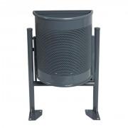 Corbeille demi ronde acier - Structure en acier - Capacité : 35 L