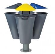 Corbeille en plastique à tri-sélectif - Modèle : 3 corbeilles