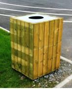 Corbeille extérieure en bois - Dimension (mm) : 500 x 500 x 770